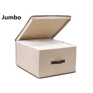 StorageManiac Foldable Polyester Canvas Storage Box Convenient Storage Box with Lid Jumbo (Pack of 3)