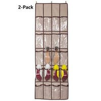 StorageManiac Pack of 2 Over-the-Door Shoe Organizer Vinal Hanging Storage Organizer with 20 Clear Pockets and 3 Strong Hooks
