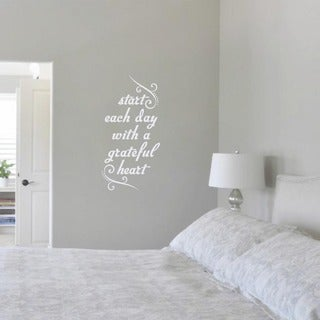 Start Each Day with a Grateful Heart' 12 x 24-inch Wall Decal (2 options available)
