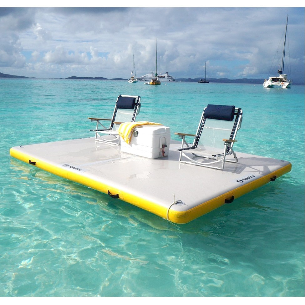 Solstice 6 foot inflatable float dock beach lack pool for Floating fishing platform