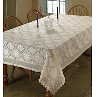 Violet Linen Stars Vintage Lace Design Tablecloth