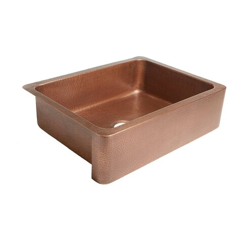"Sinkology Courbet 30"" Farmhouse Handmade Antique Copper Kitchen Sink"