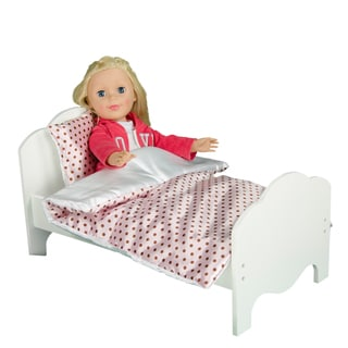 Teamson Kids Little Princess 18-inch Single Bed and Polka Dots Bedding Set