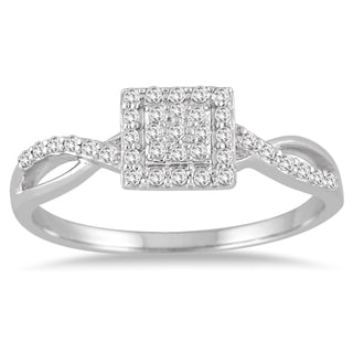 Marquee Jewels 1/5 Carat Diamond Square Halo Twist Ring in 10K White Gold (I-J, I2-I3)