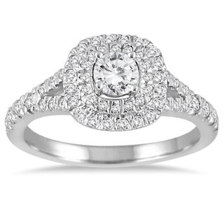 Marquee Jewels 3/4 Carat Diamond Double Halo Engagement Ring in 14K White Gold