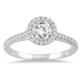 Marquee Jewels 7/8 Diamond Halo Engagement Ring in 14K White Gold (I-J, I2-I3)