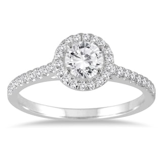Marquee Jewels 7/8 Diamond Halo Engagement Ring in 14K White Gold