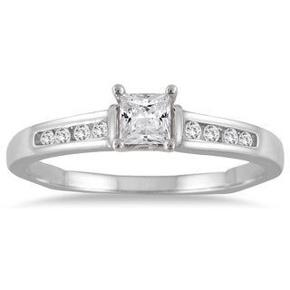 Marquee Jewels 14K White Gold 1/3 Carat Princess Cut Diamond Ring (I-J, I2-I3)