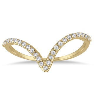 Marquee Jewels 1/8 Carat Diamond V Ring in 14K Yellow Gold