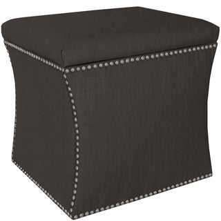Skyline Furniture Linen Charcoal Nail Button Storage Ottoman