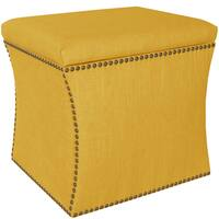 Skyline Furniture Linen French Yellow Nail Button Storage Ottoman