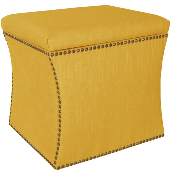 Skyline Furniture Linen French Yellow Nail Button Storage Ottoman