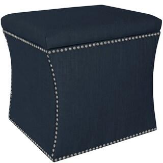 Skyline Furniture Linen Navy Nail Button Storage Ottoman