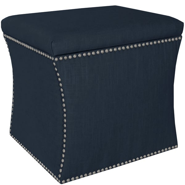 Skyline Furniture Linen Navy Nail Button Storage Ottoman - Skyline Furniture Linen Navy Nail Button Storage Ottoman - Free