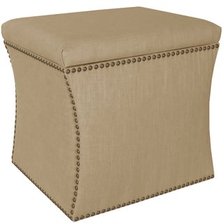 Skyline Furniture Linen Sandstone Nail Button Storage Ottoman