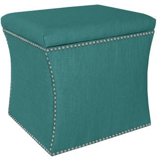 Skyline Furniture Linen Laguna Nail Button Storage Ottoman