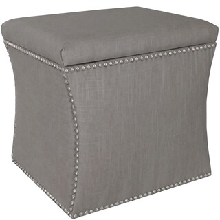 Skyline Furniture Linen Grey Nail Button Storage Ottoman