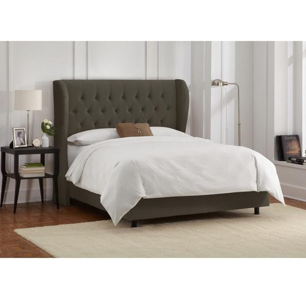 skyline furniture velvet pewter tufted wingback bed  free, Headboard designs