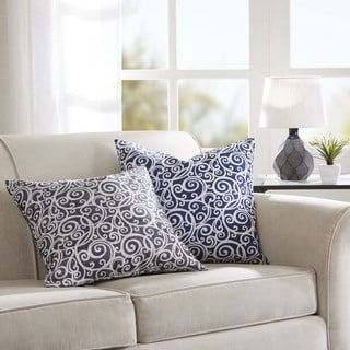 Madison Park Corin Printed Scroll Feather Down Filled 20-inch Square Pillow