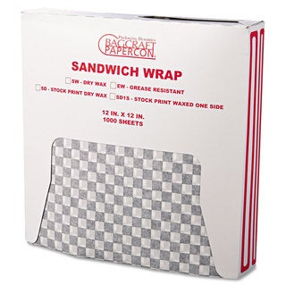 Bagcraft Papercon Black Checkered Grease-Resistant Wrap/Liners (5 Packs of 1000 Sheets)