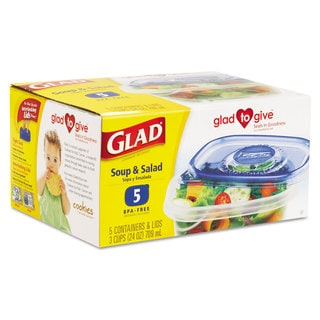 Glad GladWare Soup and Salad Food Storage Containers (6 Packs of 5 Containers/Lids)