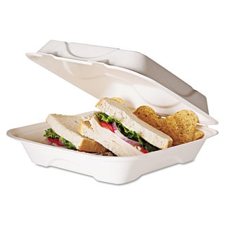 Eco-Products Sugarcane Compostable Clamshell White Food Container (Pack of 200)