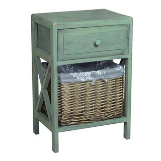 Distressed Washed Wood Cabinet Chest with Drawer and Basket Bin
