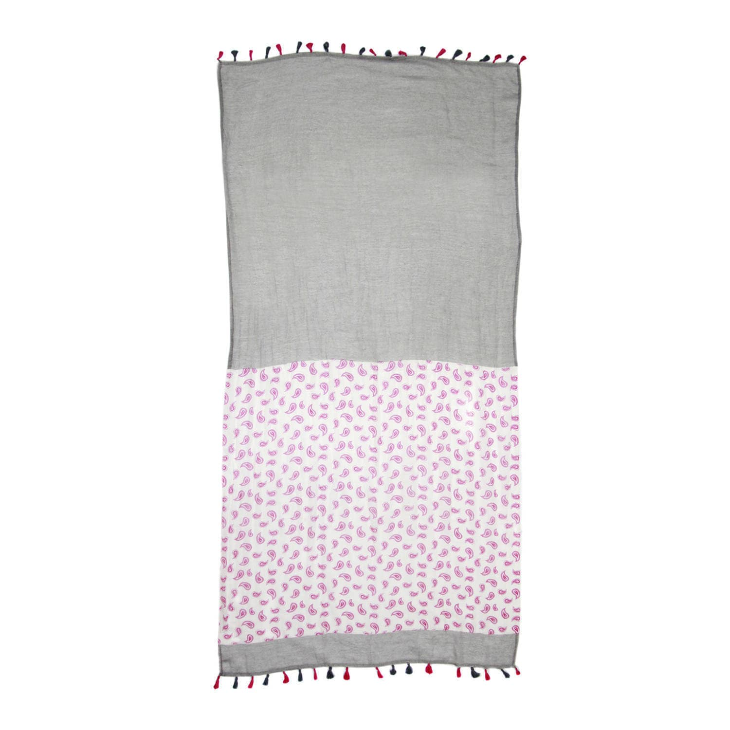 Ladies Luxury Pink soft scarf with a Pretty Floral Print with Tassel Detail