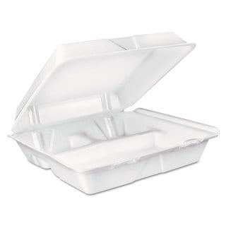Dart Large White Foam Carryout Food Containers (Pack of 200)