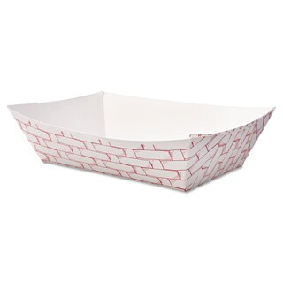 Boardwalk Red/White Paper Food Baskets (Pack of 1000)