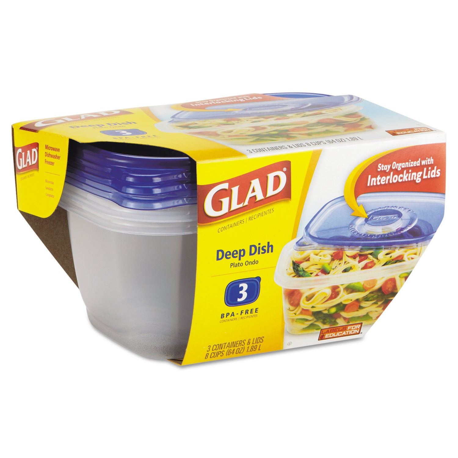 Glad Ware Deep Dish Food Storage Containers (6 Packs of 3...
