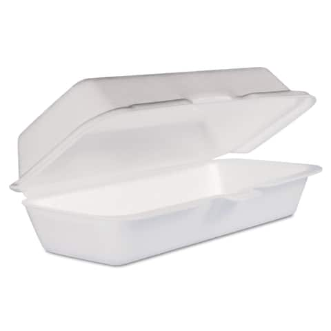 Dart White Foam Hot Dog Container with Hinged Lid (Pack of 500)