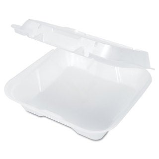 Genpak Snap-It Vented White Foam Hinged Containers (Pack of 200)