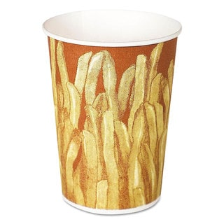 SOLO Cup Company Yellow/Brown Fry Design Paper French Fry Cups (Pack of 1000)