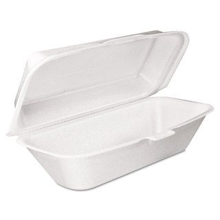 Dart White Foam Hoagie Container with Removable Lids (Pack of 500)