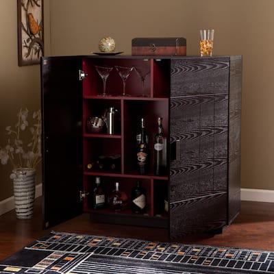 Porch & Den Mateo Ebony Wood Wine Bar Cabinet