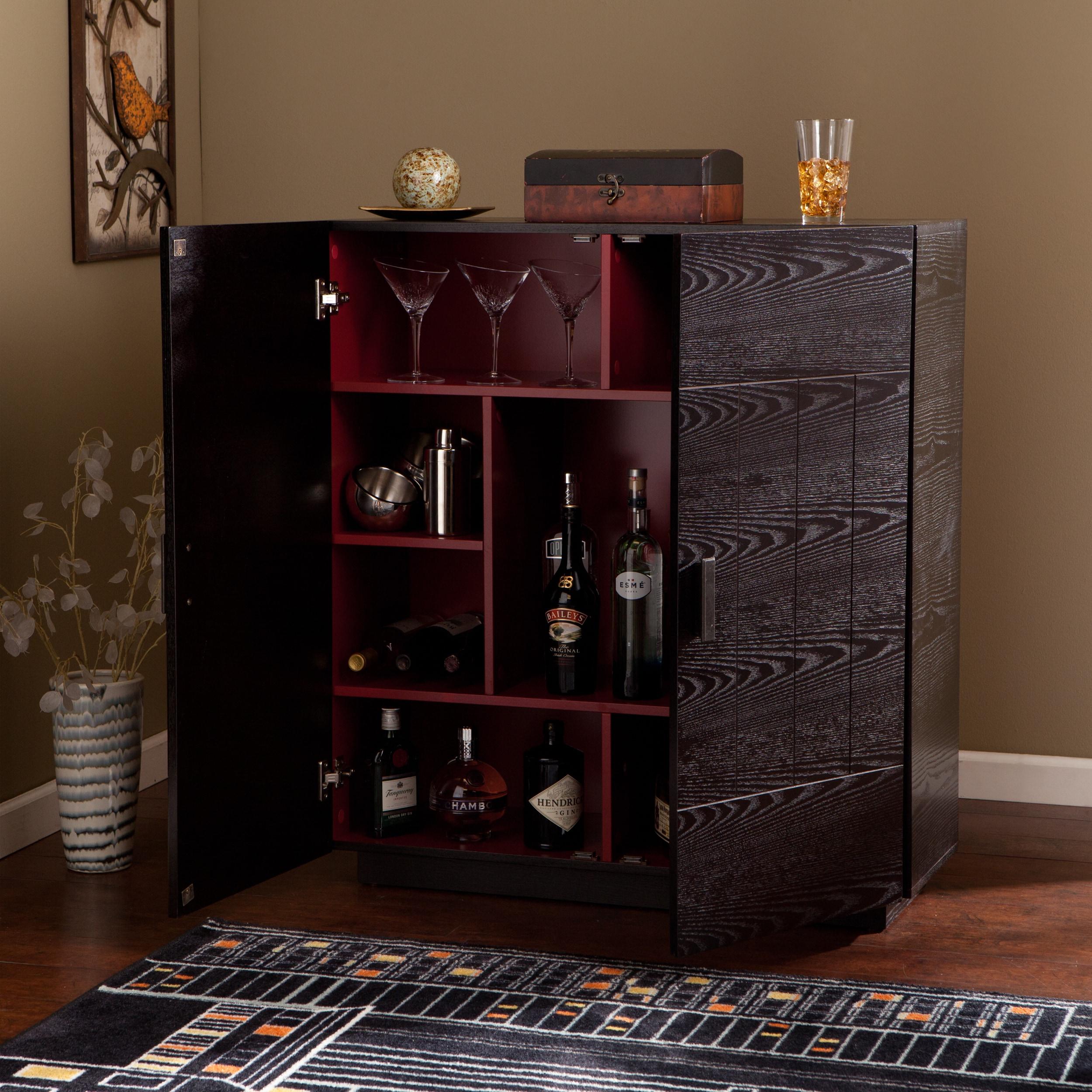 The Gray Barn Oriaga Ebony/Ruby Red Wood Bar Cabinet