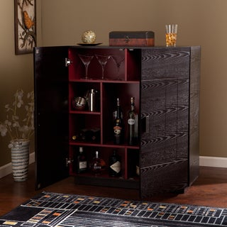 Porch & Den Mateo Ebony/Ruby Red Wood Bar Cabinet