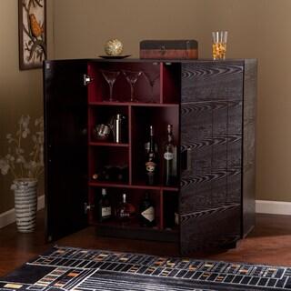 Porch & Den Mateo Ebony/Ruby Red Wood Bar Cabinet