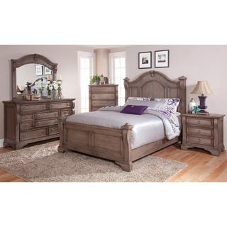 distressed bedroom furniture. Traditions 5 piece Weathered Grey Poster Bed Set by Greyson Living Distressed Bedroom Furniture For Less  Overstock com