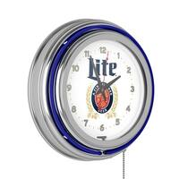 Miller Lite Chrome Double Rung Neon Clock - Retro Design