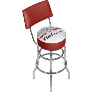 Budweiser Chrome Padded Swivel Bar Stool with Swivel - Label Design