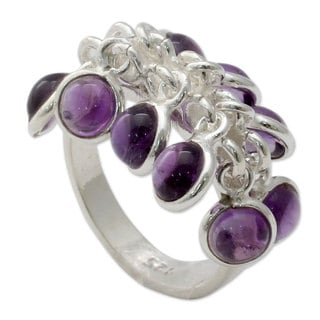 Handmade Sterling Silver 'Festive Style' Amethyst Ring (India)