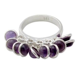 Handcrafted Sterling Silver 'Festive Style' Amethyst Ring (India)