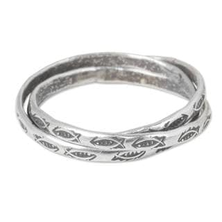 Set of 3 Handmade Silver 'Three Karen Rivers' Rings (Thailand)