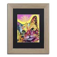 Dean Russo 'Tilt Cat' Black Matte, Birch Framed Wall Art