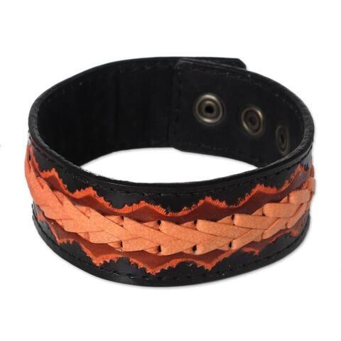 Handmade Men's Leather 'Bangkok Casual' Bracelet (Thailand)