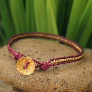 Handcrafted Leather Gold Overlay 'Golden Red' Bracelet (Thailand)