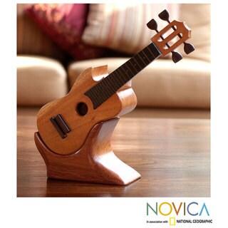Handcrafted Mahogany Ebony 'Latin Guitar' Puzzle Box (Guatemala)