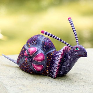 Handcrafted Copal Wood 'Oaxaca Snail' Sculpture (Mexico)